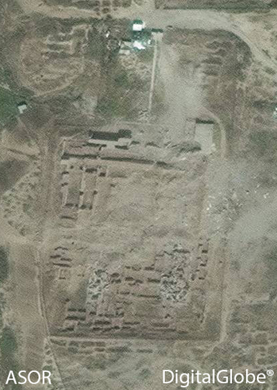 D) Nimrud, Northwest Palace, showing the palace in ruins following the detonation of barrel bombs by ISIL (DigitalGlobe; taken April 17, 2015)