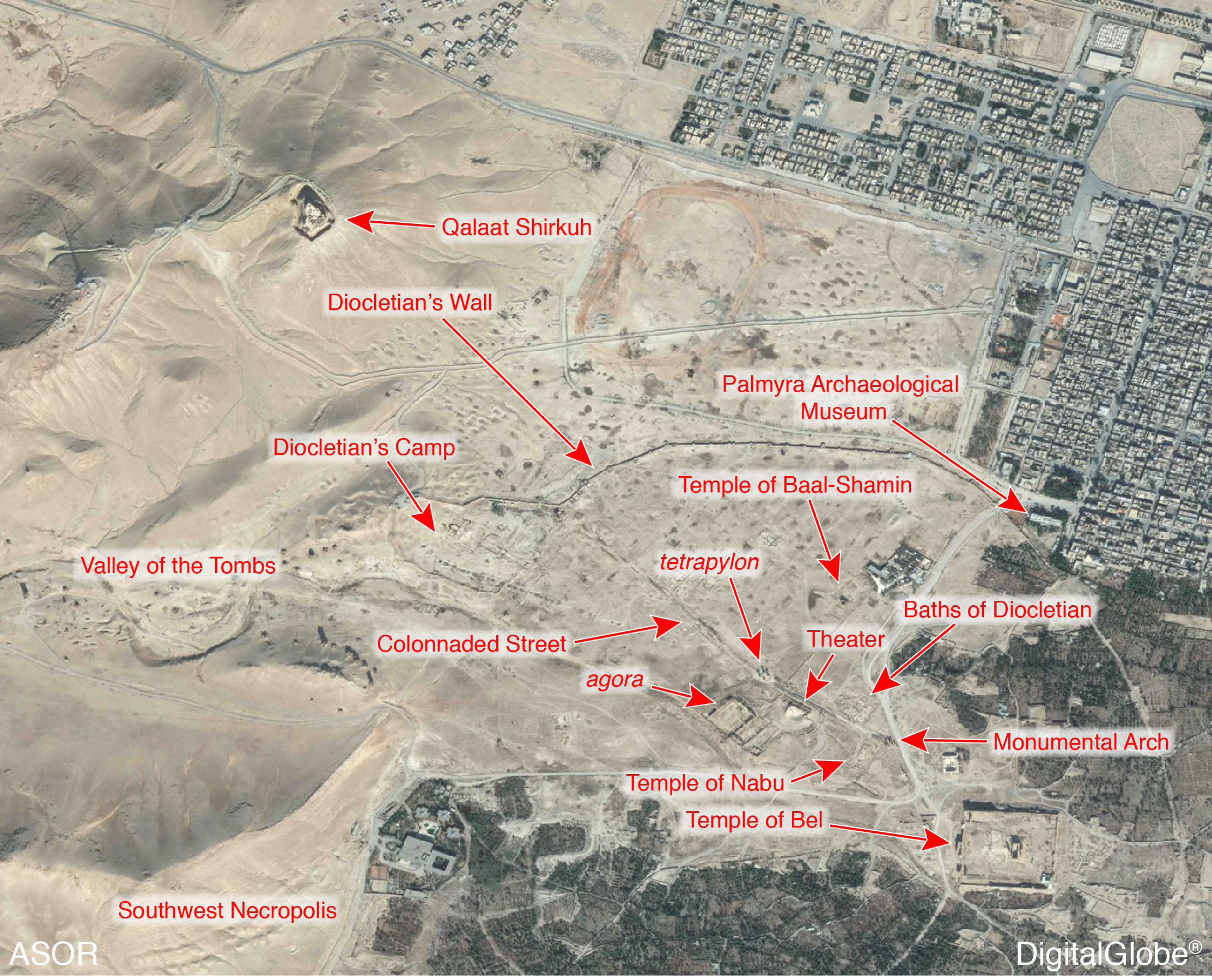 Figure 2: Satellite image showing ancient city of Palmyra with key monuments labeled (ASOR CHI; DigitalGlobe, taken October 26, 2014)