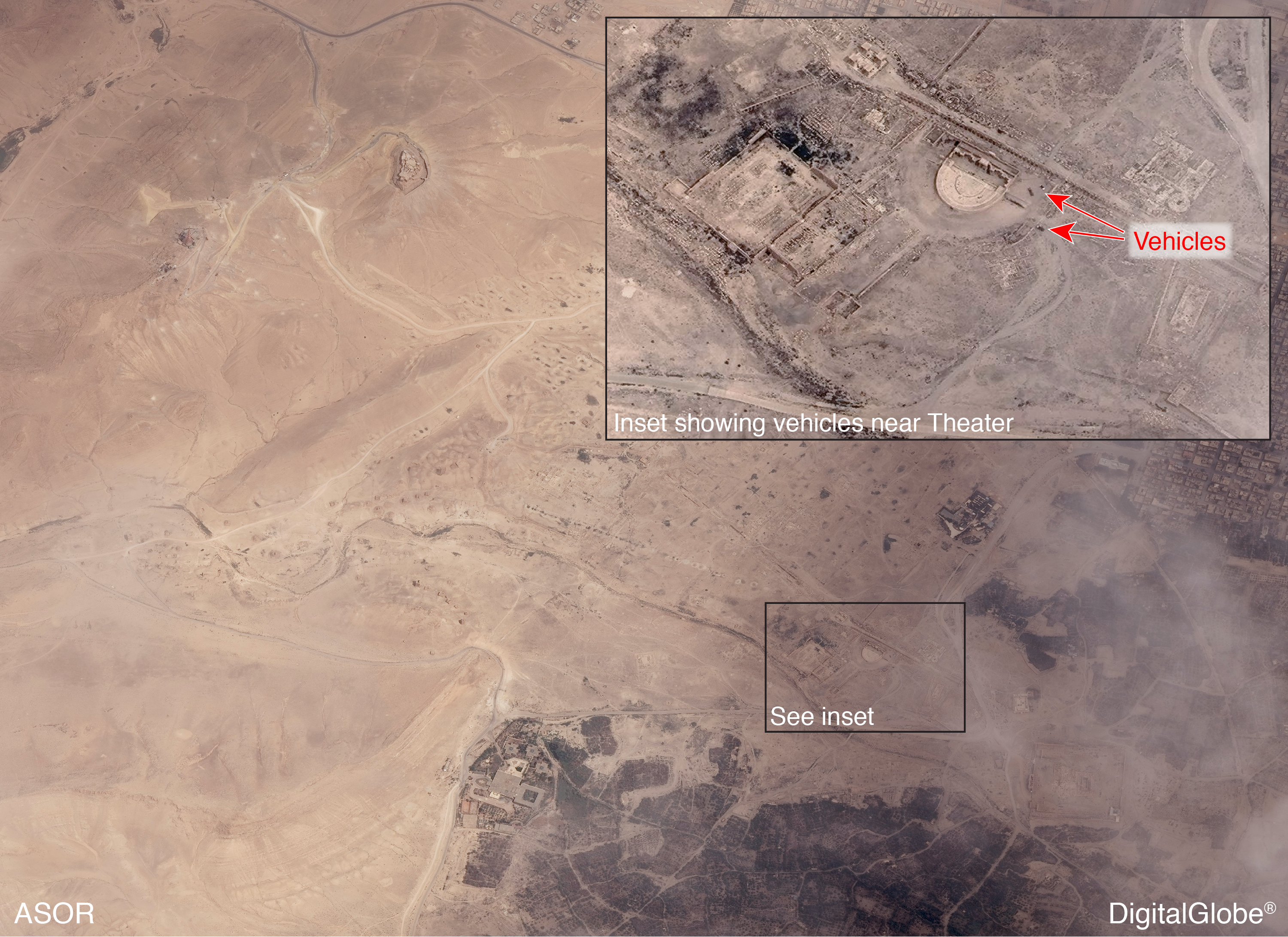 Figure 5: Recent satellite image showing ancient city of Palmyra, no visible damage, vehicles visible near the Theater (ASOR CHI; DigitalGlobe, taken May 27, 2015)