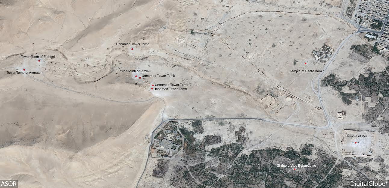 Map of damaged and destroyed sites around the Palmyra area, including the Tower Tomb of Elahbel, the Tower Tomb of Atenaten, the Tower Tomb of Iamliku, and four other tower tombs, as well as the Baalshamin Temple and the Temple of Bel.