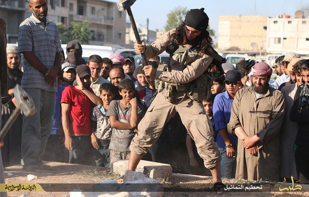 Figure 2: Destruction of Palmyrene statuary in Manbij, Aleppo governorate (ISIL social media; July 3, 2015)