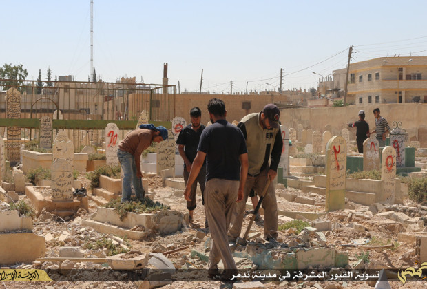 Figure 3: Graves in historic Palmyra being destroyed (ISIL social media; June 15, 2015)