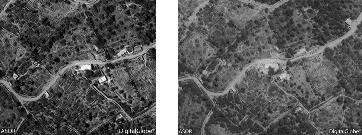 Figure 7: Satellite imagery showing Shagaf/Nizar Abu Behaeddine. Left: No visible damage (DigitalGlobe; June 16, 2015), Right: Visible damage (DigitalGlobe; June 26, 2015)