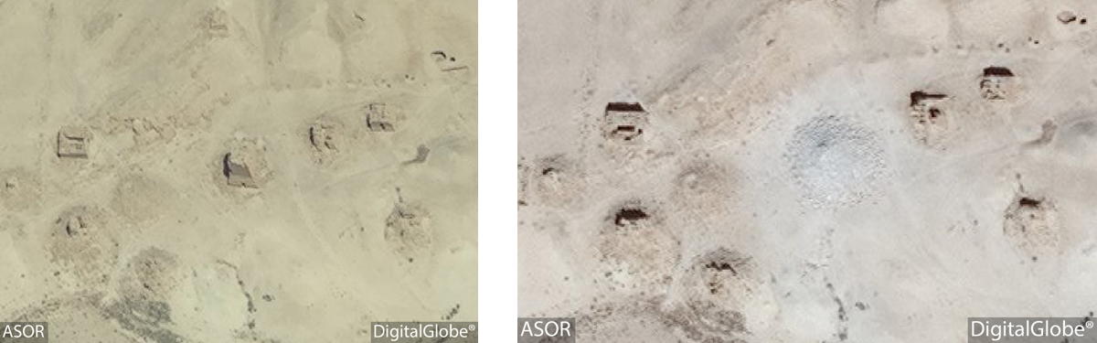 Figure 9: Satellite imagery of the Tower Tomb of Kithoth Tomasu. Left: No visible damage (DigitalGlobe; June 26, 2015), Right: Visible damage (DigitalGlobe; September 2, 2015)