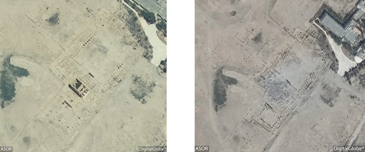 Figure 15: Satellite imagery of the Baalshamin Temple. Left: No visible damage (DigitalGlobe; June 26, 2015), Right: Visible damage (DigitalGlobe: August 27, 2015)