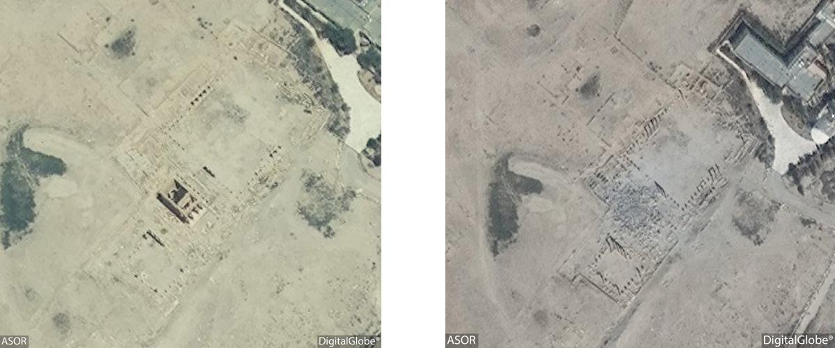 Figure 16: Satellite imagery of the Baalshamin Temple. Left: No visible damage (DigitalGlobe; June 26, 2015), Right: Visible damage (DigitalGlobe: August 27, 2015)