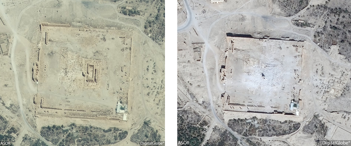 Figure 17: Satellite imagery of the Temple of Bel. Left: No visible damage (DigitalGlobe; taken June 26, 2015), Right: Visible damage (DigitalGlobe; September 2, 2015)