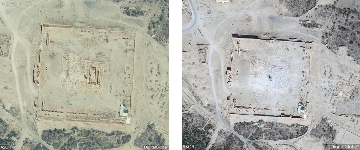 Figure 18: Satellite imagery of the Temple of Bel. Left: No visible damage (DigitalGlobe; taken June 26, 2015), Right: Visible damage (DigitalGlobe; September 2, 2015)