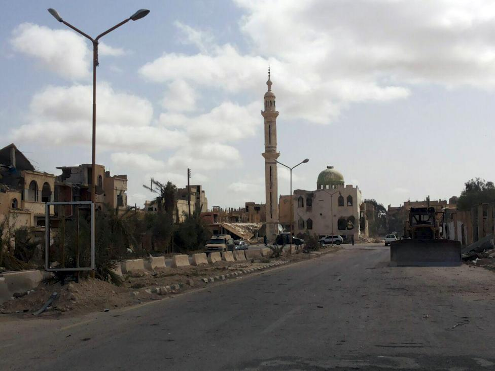 A general view inside Palmyra city after forces loyal to Syria's President Figure 3: Destruction to residential areas and the Uthman bin Affan Mosque in Palmyra (SANA Handout via Reuters; March 27, 2016)
