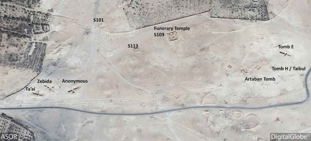 Figure 19. Southeast Necropolis with military berms built around the area. (DigitalGlobe; September 2, 2015)