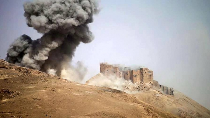 Figure 24. Airstrike close to Qalaat Shirkuh (Qasioun News; March 26, 2016)