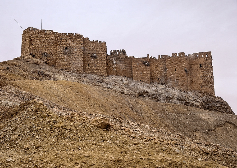 Figure 25. Airstrike damage to western walls of Qalaat Shirkuh (Valery Sharifulin/TASS; March 28, 2016)