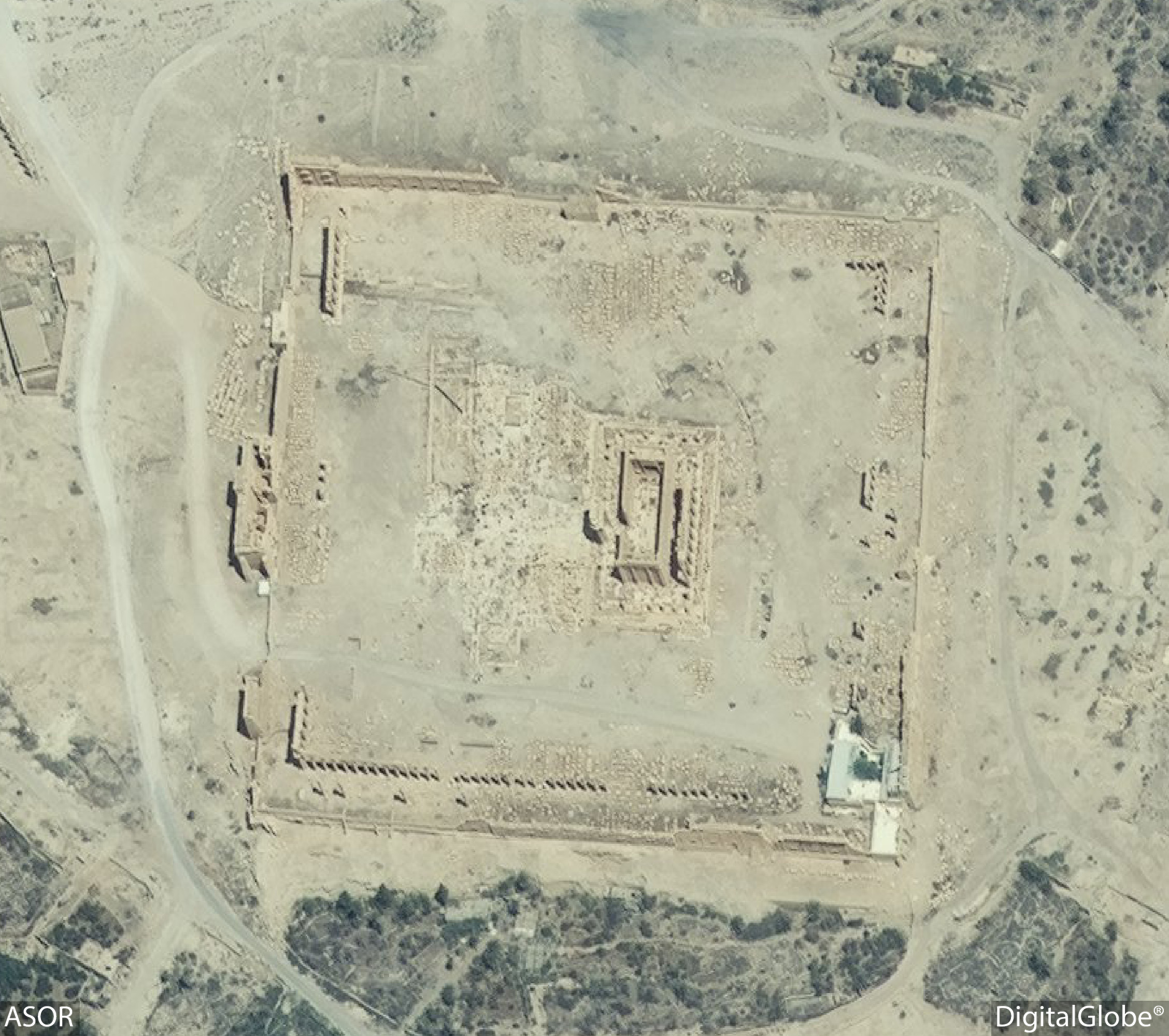 Figure 31. Satellite imagery of the Temple of Bel. No visible damage (DigitalGlobe; June 26, 2015).