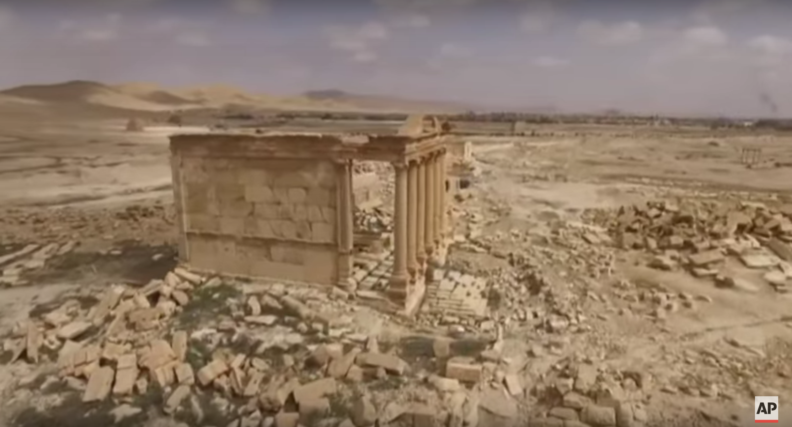 Figure 48. Drone footage of the Funerary Temple (facing north) (Associated Press; March 27, 2016)