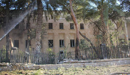 Figure 59. Museum of Palmyra exterior damage following airstrike (DGAM; July 29, 2015).